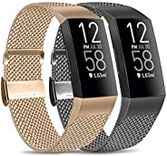 Amzpas Metal Bands Compatible with Fitbit Charge 4 / Fitbit Charge 3 / Fitbit Charge 3 SE Bands, Adjustable St