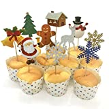 Sikye Christmas Cupcake Cake Toppers Cake Insert Flags for Party Decoration Baking Tool