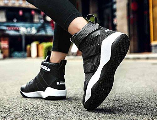 Sneakers Da Basket Uomo Velcro 2017 Autunno Inverno Alta Top Scarpe Da Ginnastica Moda Traspirante Scarpe Da Corsa Atletiche Nere