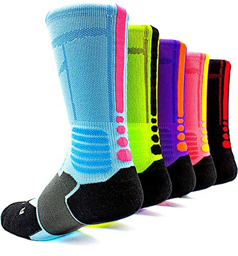 Basketball Socks 5 Pack Athletic Crew Sport for Boy Girl Men Women By JIYE,A3,Medium (Nike Compression Basketball Socks)