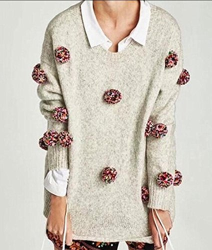 UUYUK-Women Fashion Pom Pom Knitted Tops Crewneck Pullover Sweaters ... 0fcf0efee
