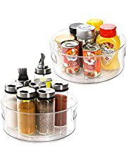 Hedume 2 Pack Lazy Susan Turntable with Handles, 9 Inches Round Plastic Clear Rotating Turntable Organization, Food Storage Container for Kitchen, Cabinet, Pantry, Fridge, Countertop