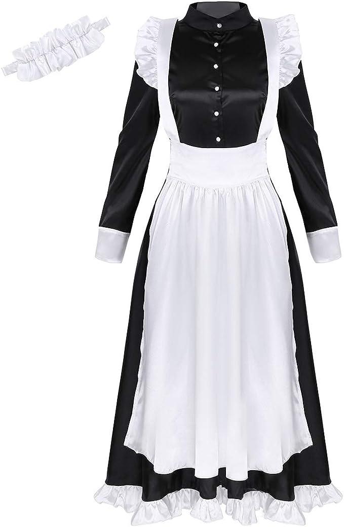 inhzoy Disfraz de Criada Victoriana para Mujer Vestido Largo de ...