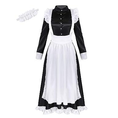 Agoky Disfraz de Criada para Mujeres Chicas Cosplay Maid 3PCS ...