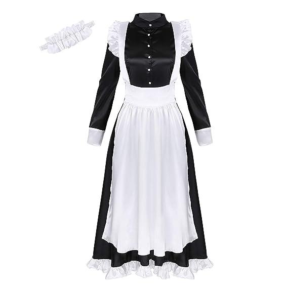 dPois Disfraz de Criada Victoriana Mujer Vestido Largo Negro ...