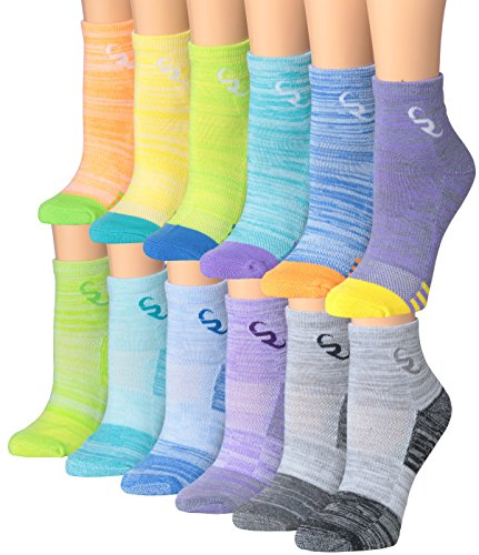 - Ronnox Women's 12-Pairs Running & Athletic Sports Performance Ankle / Quarter Socks, RQ13-AB-SM