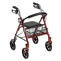Rollator de cuatro ruedas Drive Medical con respaldo plegable extraíble, rojo