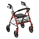 Drive Medical Four Wheel Rollator with Fold Up Removable Back Support, Red