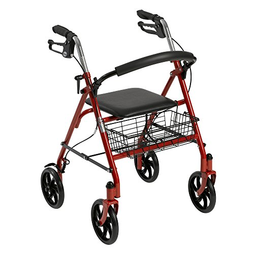 (Drive Medical Four Wheel Rollator with Fold Up Removable Back Support, Red)