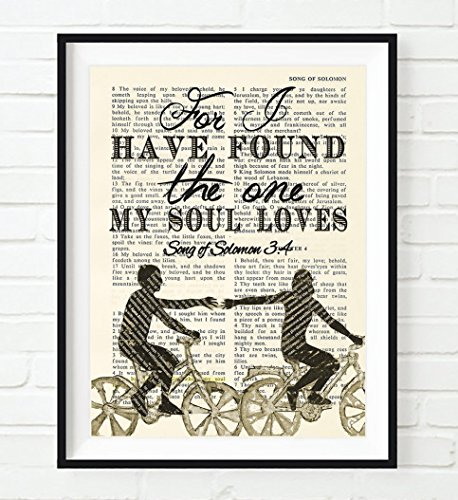 Bible Page, For I Have Found the One My Soul Loves, Songs of Solomon 3:4, Unframed Art Print, Wall Decor Poster, Wedding Engagement Anniversary Gift, 5x7 Inches -