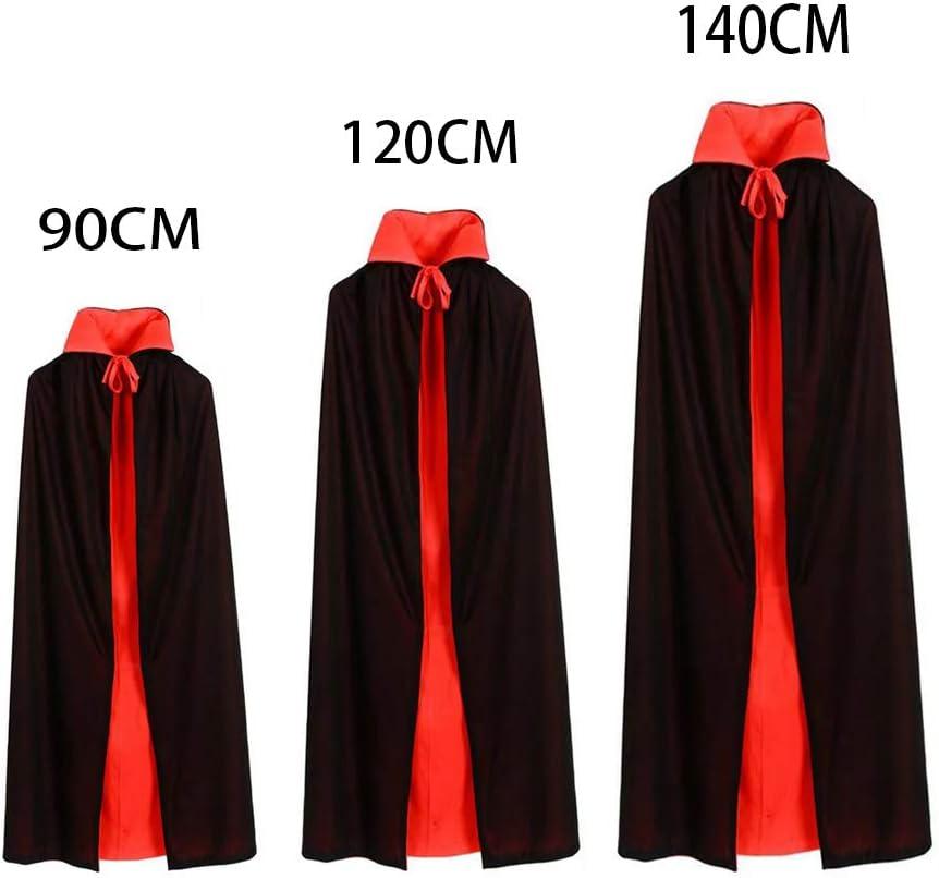 GAOU Capa de Halloween Unisex Reversible con Cuello Alto Bruja Vampiro Disfraz de Diablo de Navidad Negro//Rojo S-90cm//35.4/¡/±