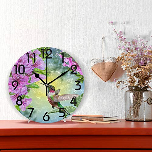 Naanle Flowers Round Clock Decor, 9.5 Battery Quiet Clock for Home,Office,School