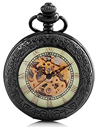 Carrie Hughes Luminous dial Pocket Watch Steampunk mechanical Skeleton Hand-wind metal black CHPW21