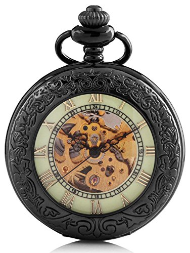 Carrie Hughes Men's Spiderman Luminous dial Steampunk Skeleton Mechanical Pocket Watch With Chain Gift Box