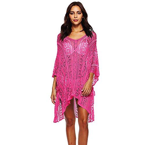 Courtes Tunique de Pour Fuchsia Top Cover Up Asymtrique Robe Manches Casual Femme Plage Dihope Blouse Vacances Bikini wqR8tnO