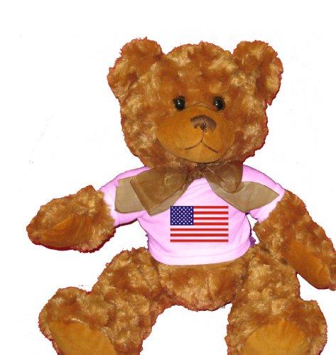 American Flag Teddy Bear T-shirt (AMERICAN / USA FLAG Plush Teddy Bear with WHITE T-Shirt)