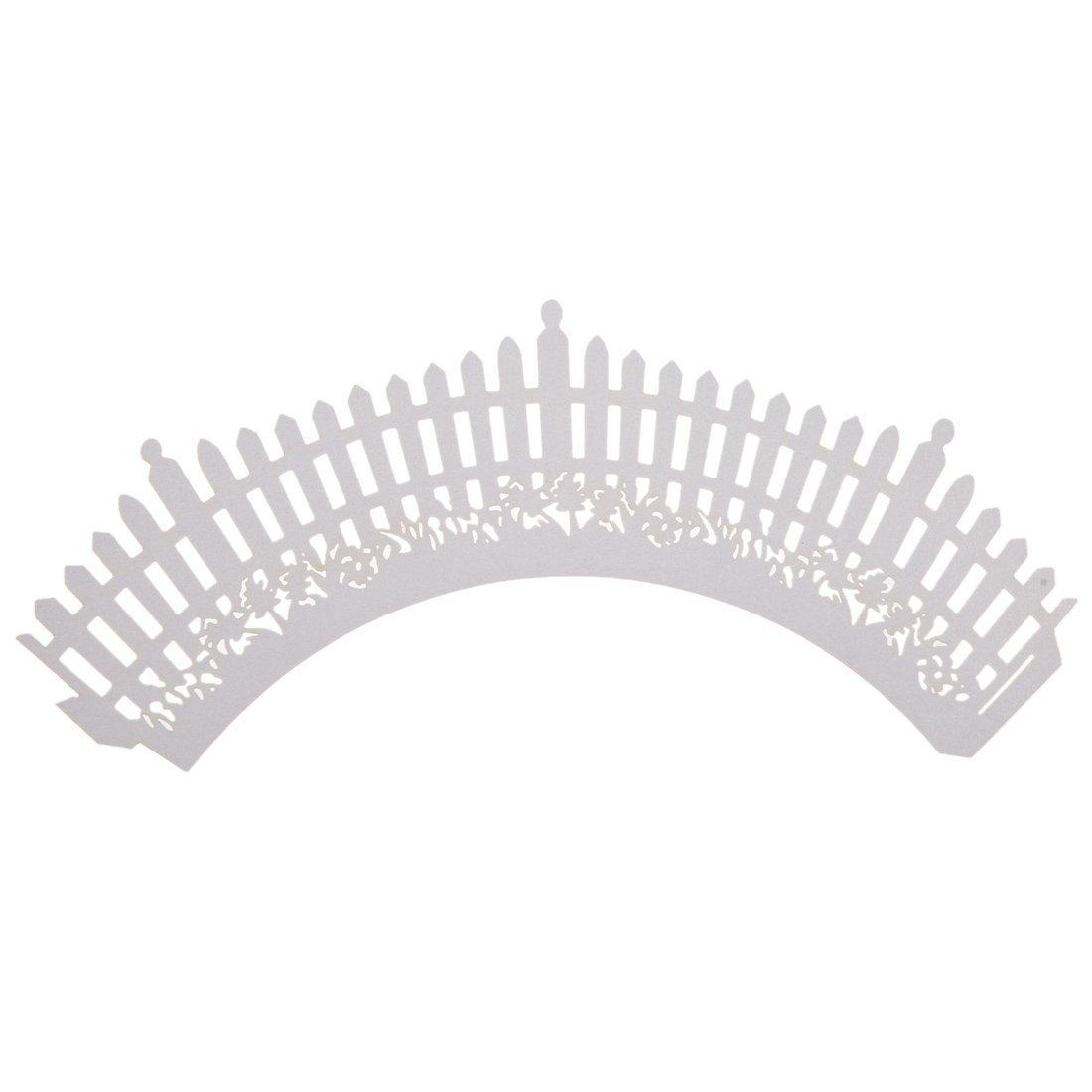 TOOGOO(R)12 White Fences Pattern Cupcake Cake Wrappers Weddings, Christenings