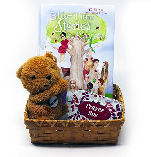 Bible-Time Stories and Rhymes Christmas Gift Basket with Bible Story Book, Talking Prayer Bear Plush Toy and Tin Keepsake Prayer Box (Brown)
