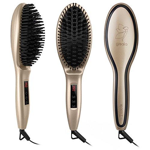 Gisala Metal Ceramic Heater Hair Straightening Brush,Auto Lock,Anti Scald,Zero