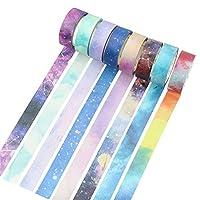 Molshine Set of 8 Japanese Washi Masking Tape, Galaxy Washi Tape, Sticky Paper Tape for DIY, Decorative Craft, Gift Wrapping, Scrapbook- City of Sky Series (0.6inchx7.6yd)