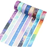 Molshine Set of 8 Japanese Washi Masking Tape, Sticky Paper Tape for DIY, Decorative Craft, Gift Wrapping, Scrapbook- City of Sky Series (0.6inchx7.6yd)