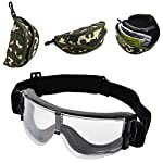 Elemart Tactical Airsoft Goggles - Safety Goggles Army Goggles Military Eye Protection Hunting Glasses for Shooting - 3 Interchangeable Multi Lens & Carrying Case