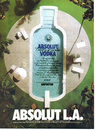 Vintage Print Ad: Absolut L.A. Swimming Pool in Shape of a Bottle (NOT AN OFFER FOR A BOTTLE OF - Sweden Shape