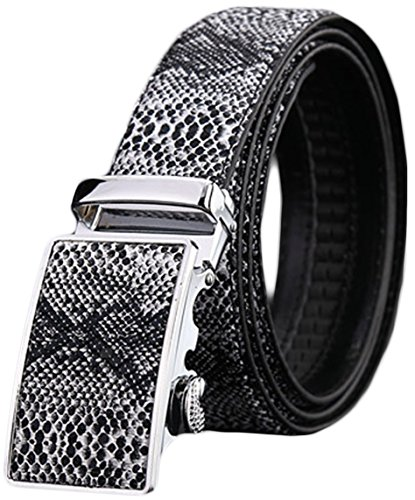 (Ayli Men's Genuine Leather Ratchet Belt, Snake Skin Embossed Black, Fits All Pant Sizes Below 42