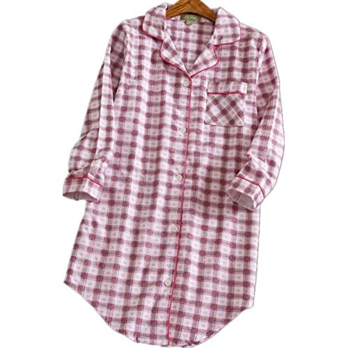 38c3064f38 new Amoy madrola Women s Flannel Boyfriend Nightshirt Button Down Nightgown  Mid-Long Style Plaid Sleepshirt