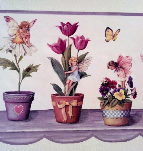 (Flowers, Butterflies, Fairies Wallpaper Border - Purple - Sunflowers Tulips Daisies Pansies...)