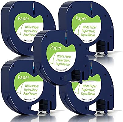 12 mm x 2 m 3X Compatible Dymo LetraTag Fabric Iron Labels Tape 18769 S0718850 LT Iron-On Fabric Tape Cassette Black Print on White Use with DYMO LetraTag Label Maker