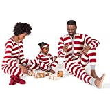 Burt's Bees Baby Family Jammies, Cranberry Rugby Stripe, Holiday Matching Pajamas, Organic Cotton, Womens Jumpsuit Medium