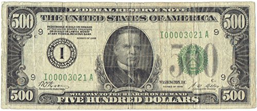 1928 $500 Federal Reserve Note -