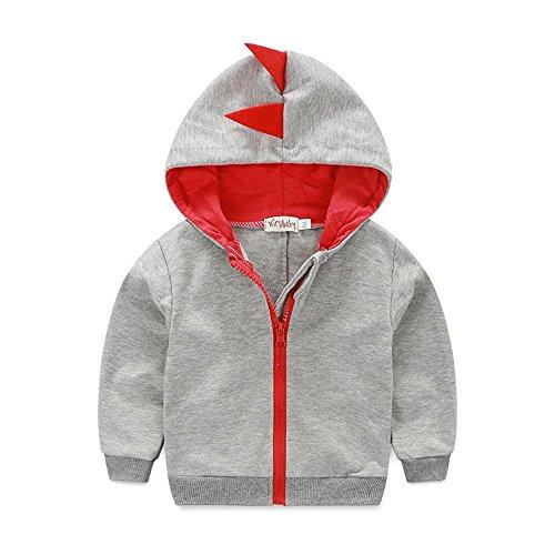 - Kimocat Boys Clothes Long Sleeve Knit Zipper Hoodie Sweatshirt Jacket Winter Casual Heavier Coat with Dinosaur-Shaped (Gray, 18-24month)