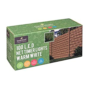 GardenKraft 15650 Battery Operated Net Timer Light with 100 LED – Warm White