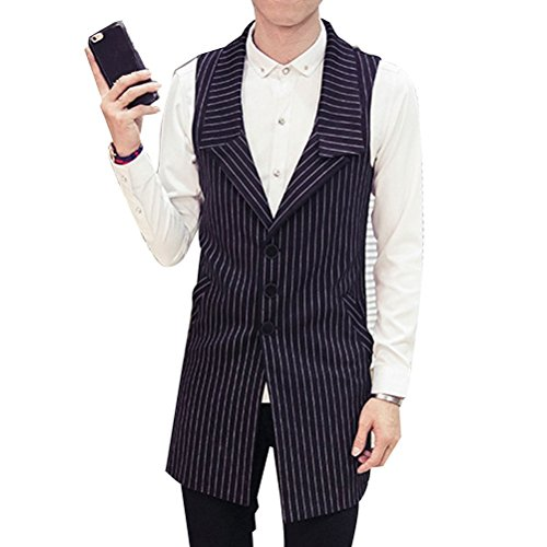 4XL Long Zhhlaixing XXXL Cómodo Slim Fit 5XL Vest Suit Mens XXL Sleeveless Waistcoat negro Size E7ErPSnq