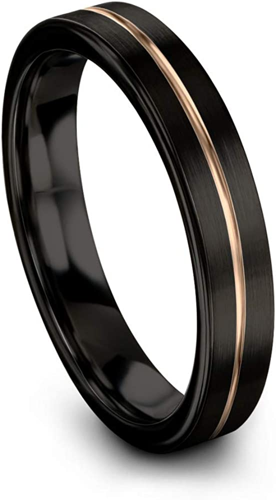 Midnight Rose Collection Tungsten Wedding Band Ring 4mm for Men Women 18k Rose Yellow Gold Plated Flat Cut Center Line Black Brushed Polished