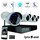 LYNXSOUL - MOST RELIABLE IN THE MARKET- 4 CH 1080P Full HD Wireless NVR, 720P Indoor/Outdoor Weatherproof Night Vision Metal IP Cameras - Hassle Free Installation.
