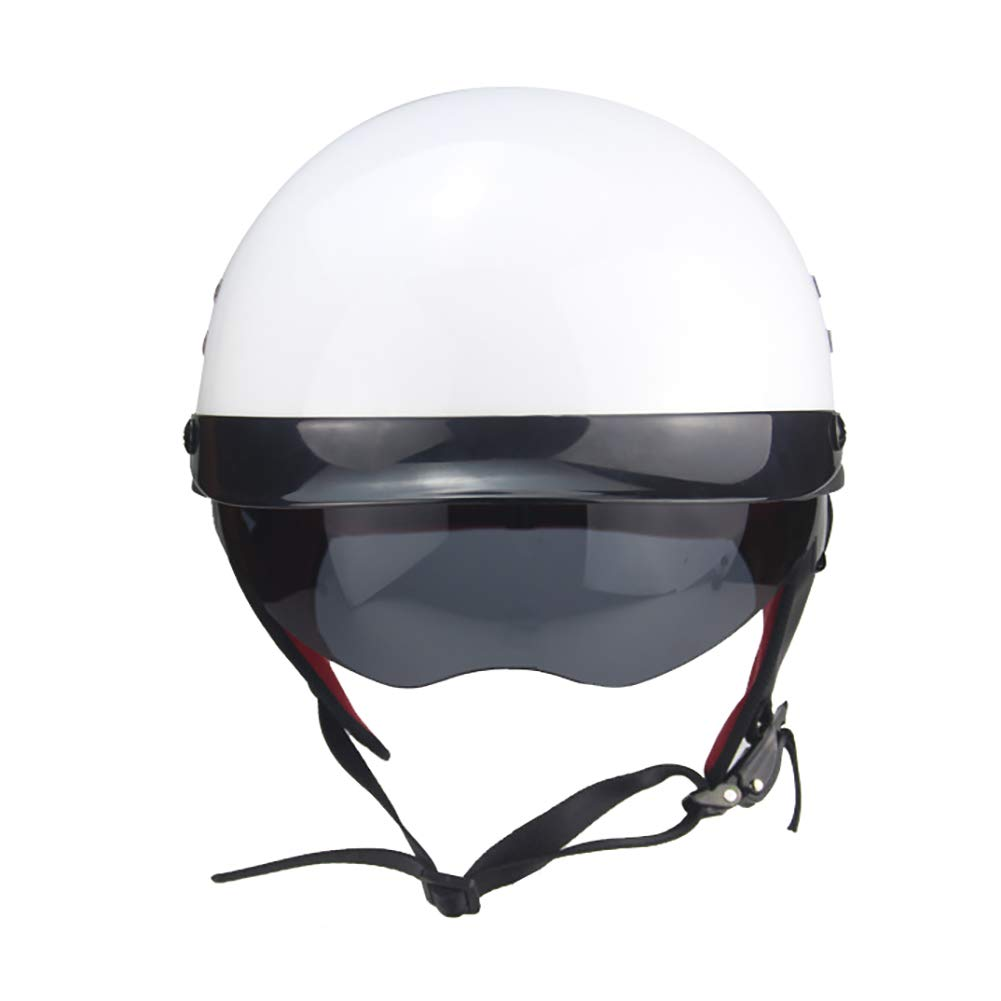 TKer Motorcycle Open Face Helmet, Jet Helmet with Goggles Breathable for Adults Men & Women Universal Size Baseball Helmet Scooter Helmet Half Helmet DOT Approved, White,XL by TKer