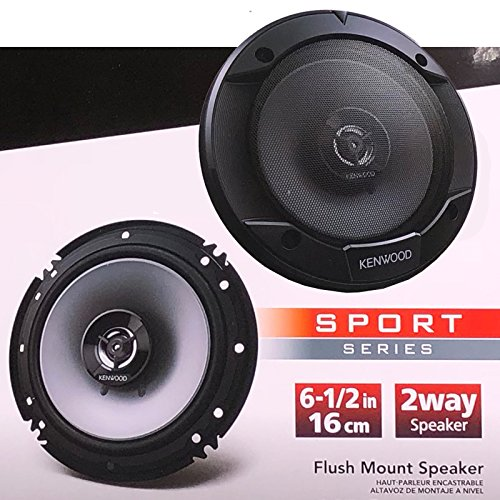 "Kenwood KFC-1666S Sport Series 300W 6.5"" 6-1/2 in 2-Way Flush Mount Car Speaker / 2 Speakers"