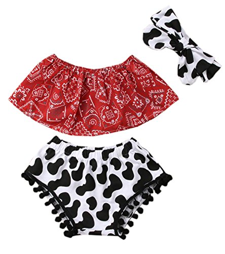 stylesilove Baby Girls Cowgirl Red Bandana Top with Pom Pom Trim Bloomers and Headband 3pcs Outfit (90/12-18 Months) ()
