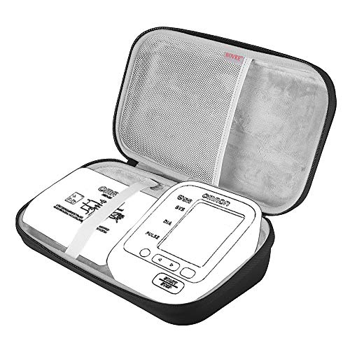 BOVKE EVA Hard Travel Carrying Case for Omron BP742N 5 Series Upper Arm Blood Pressure Monitor with Cuff that fits Standard and Large Arms, Black by BOVKE