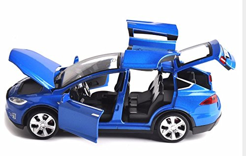 ESHINEY Sell 1:32 Scale Car Model X90 Tesla Blue alloy diecast Model Car W sound&light Pull Back model Car Toy Cars Kids Toys Collection blue