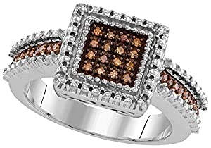 Size - 8 - Solid 925 Sterling Silver Round Chocolate Brown Diamond Engagement Ring OR Fashion Band Prong Set Square Shape Solitaire Shaped Halo Ring (.15 cttw)