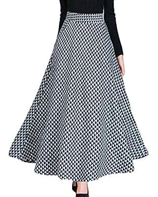UUYUK Women Autumn Plaid Wool Woolen Long Maxi Skirt with Pockets