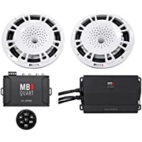 2) MB Quart NH1-120W 8 360w Marine Boat Speakers+Amplifier+Bluetooth Controller