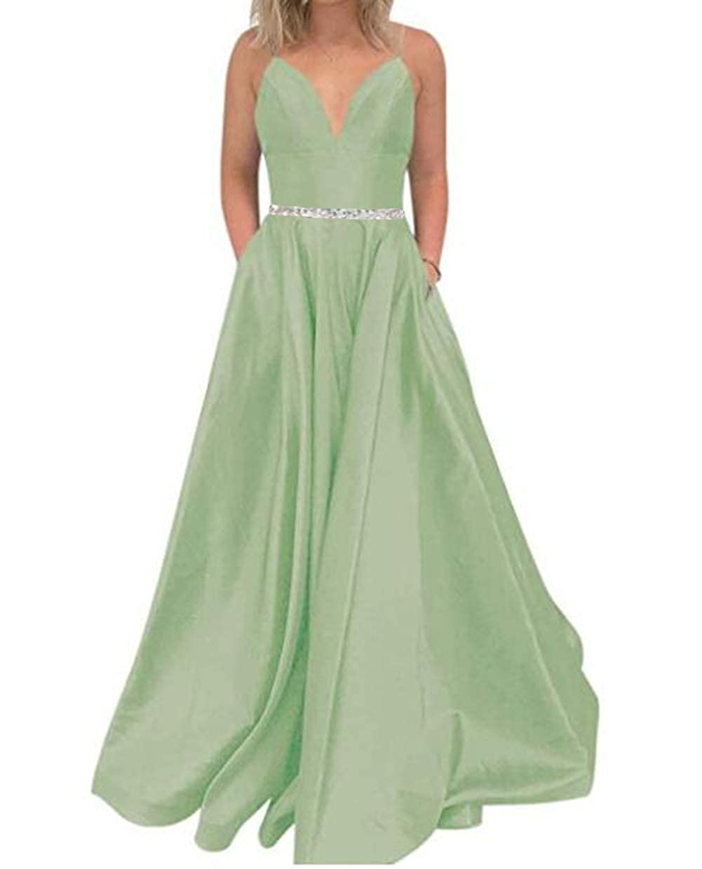 Sage Tsbridal Women's A Line Bead Prom Dresses V Neck Satin with Pockets Evening Gown