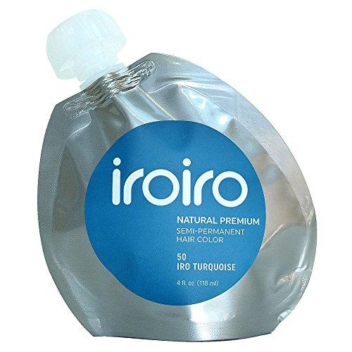 IROIRO Premium Natural Semi-Permanent Hair Color 50 Iro Turquoise (4oz) (Turquoise Hair)
