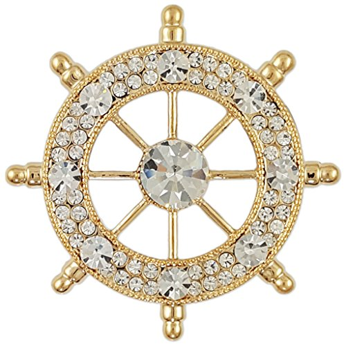 CRYSTAL MODERN SHIP'S BOAT'S WHEEL BROOCH PIN MADE WITH SWAROVSKI ELEMENTS (Gold Plated White)