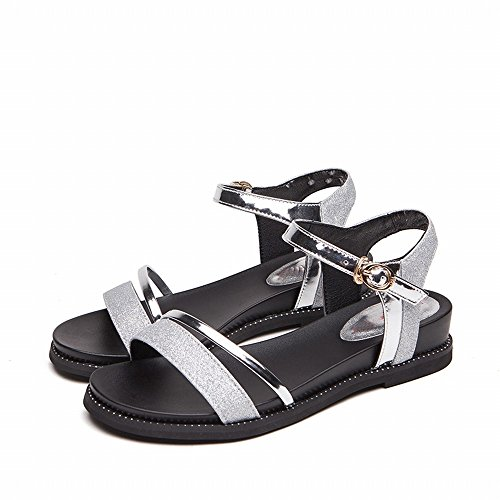 DHG Sandalias con Suela Gruesa Zapatos de Cuña, Versátil Fondo Plano de Ocio Estudiantil,Plata,35